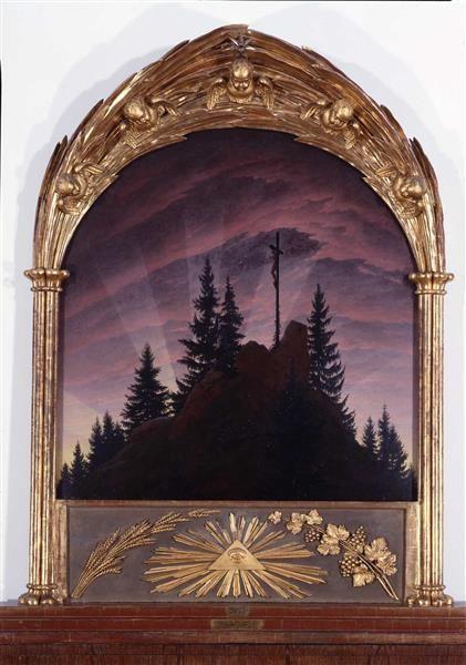 Das Kreuz im Gebirge (Tetschener Altar), Caspar David Friedrich (Maler), 1807/08, Öl auf Leinwand, 115 x 110 cm