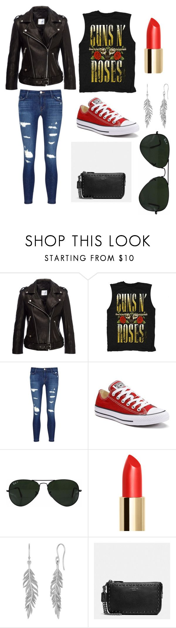 """Night at the Guns n Roses concert"" by jess08m on Polyvore featuring Anine Bing, J Brand, Converse, Ray-Ban and Coach"