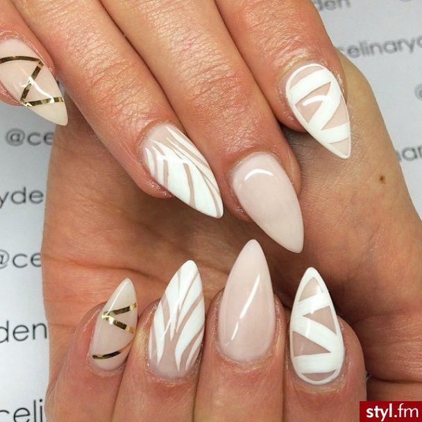 nude, white design stiletto nails