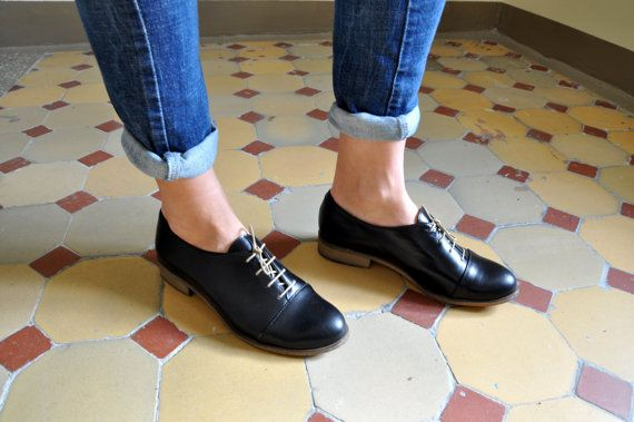 Gatsby - Womens Oxfords, Handmade Oxfords, Black shoes, Oxfords for women, Vintage Shoes, Custom Shoes, FREE customization!!!