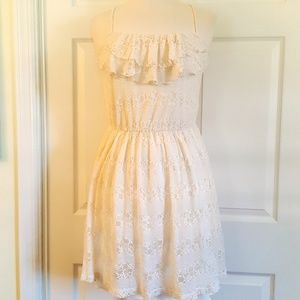 Maurices Ruffle & Lace Ivory Cream Dress