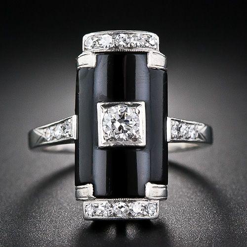 Art Deco Platinum, Onyx and Diamond Ring - 10-1-5813 - Lang Antiques