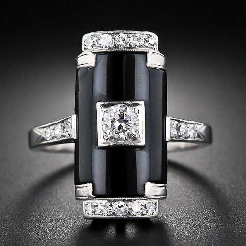 Art Deco Platinum, Onyx and Diamond Ring - 10-1-5813 - Lang Antiques