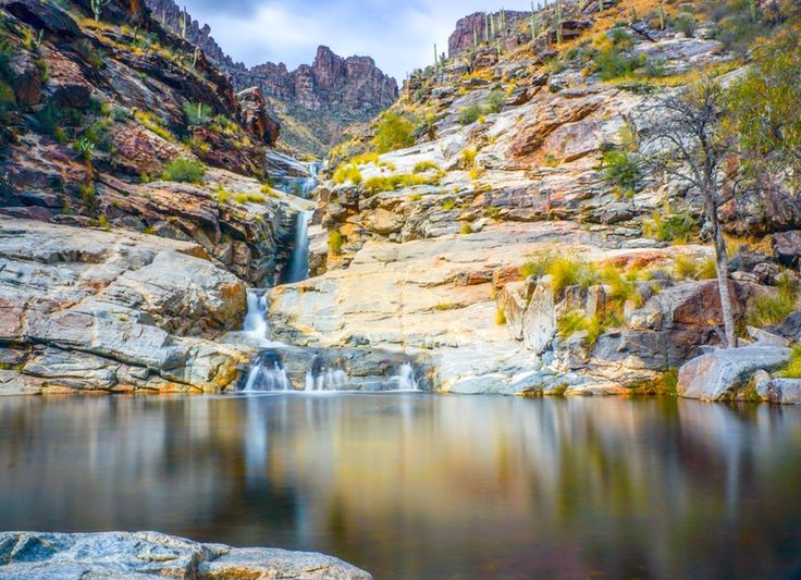 The Seven Falls trail winds up through 2 1/2 miles of the most beautiful landscape Tucson has to offer, and leads to a surreal set of waterfalls that cascade into large pools.