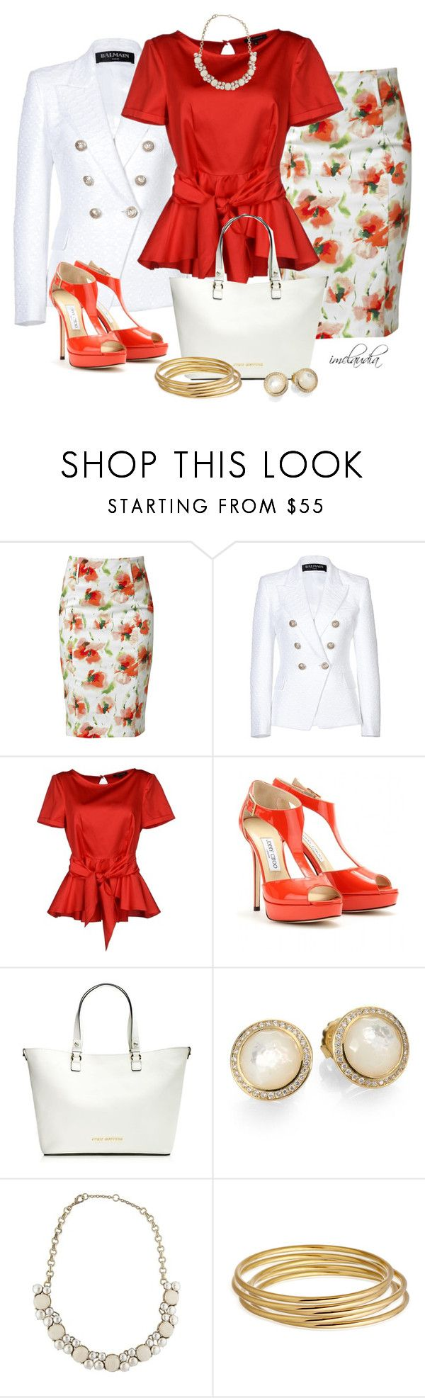 """Peplum and Poppies"" by imclaudia-1 ❤ liked on Polyvore featuring Raxevsky, Balmain, Tara Jarmon, Jimmy Choo, Juicy Couture, Ippolita, Gerard Yosca and Astley Clarke"
