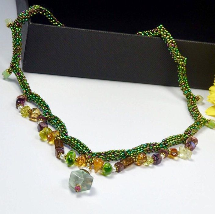 Green SAFARI colors💚 ....fluorite crystals and glass beads woven toghether making this beautiful Choker .