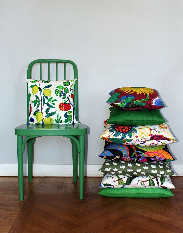 """Brighten up the home with cushions in diferent sizes and prints. Cushions are avilible in Josef Frank's prints, Estrid Ericson's """"Elefant"""" and Svenkst Tenn's  single colour linen."""