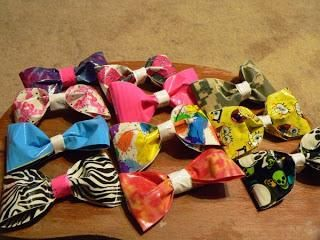 DUCT TAPE HAIR BOW OR BOW TIE -cute secondary craft, maybe kids can take photos with these too!  3 Easy Duct Tape Crafts - takingtimeformommy.com