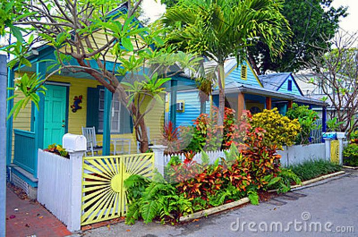 Key West Porches   ... colorful wooden bungalows in the old town section of Key West,Florida