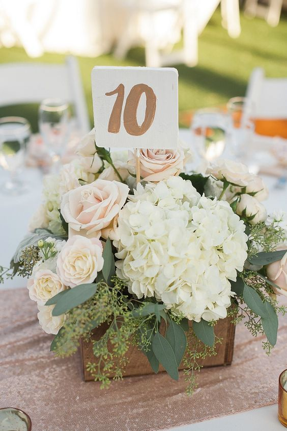 sparkle and bush wedding centerpiece with metallic table numbers via white haute photography / http://www.deerpearlflowers.com/unique-wedding-centerpiece-ideas/4/