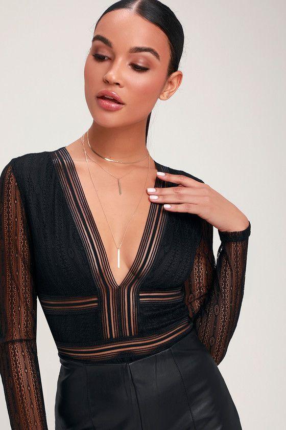Lulus   Casita Black Sheer Lace Long Sleeve Bodysuit   Size Large   100% Polyester   Vegan Friendly 2