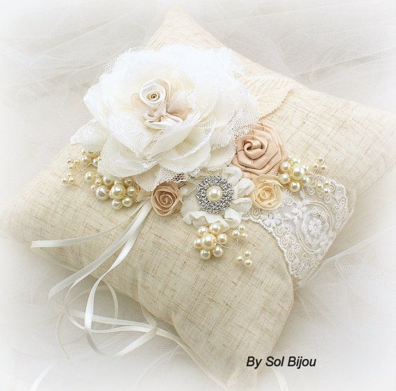 ❤°(¯`★´¯)Shabby Chic(¯`★´¯)°❤... Ring Bearer Pillow and Straw and Pearl Flower Girl by SolBijou
