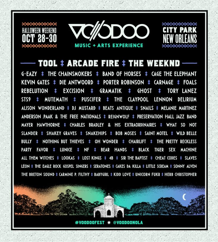 Voodoo Music + Arts Experience happens Oct. 28-30, 2016 at City Park in New Orleans.