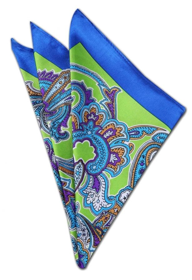 Mavi - Yeşil Kravat Mendili KM0195 - Blue and Green Pocket Square