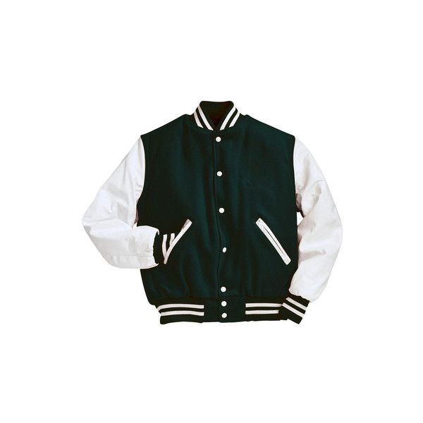 Forest Green and White Varsity Letterman Jacket ($200) ❤ liked on Polyvore featuring outerwear, jackets, varsity-style bomber jacket, white jacket, varsity bomber jacket, leather sleeve jacket and varsity style jacket