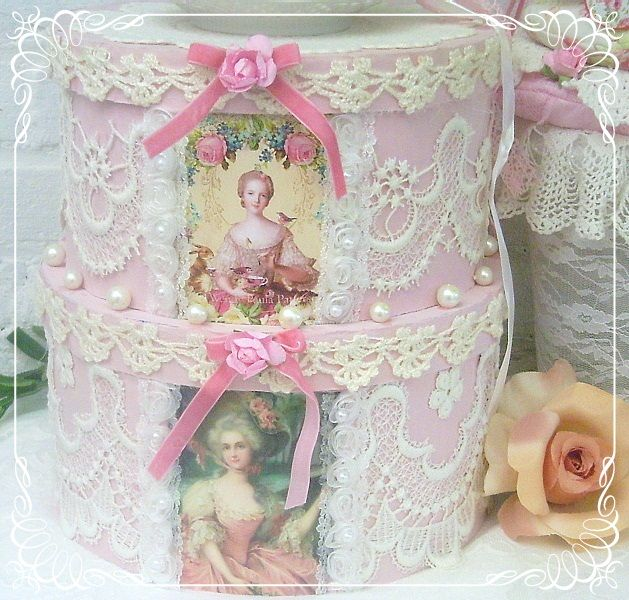 .: Altered Boxes, Crafts Ideas, Beautiful Boxes, Favorite Things, Shabby Chic, Pink Hats, French Lace, Cakes Boxes, Victorian Hats Boxes