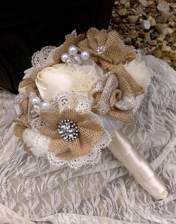 Rustic Romantic Burlap and Lace Bouquet; YOUR COLORS Also Available -  With Vintage Style Brooches Buttons and Pearls, Shabby Chic Bouquet