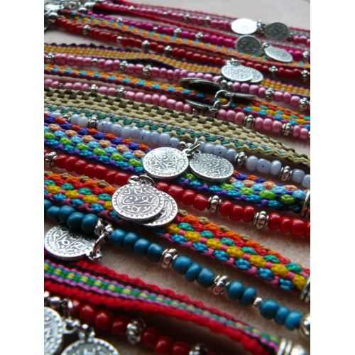 "Hippy bracelets ""Ibiza-style"", multi-colors"