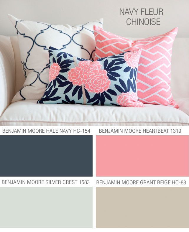 Caitlin Wilson Textiles Navy Fleur Chinoise Paint Colors To Coordinate With Caitlins Fabric