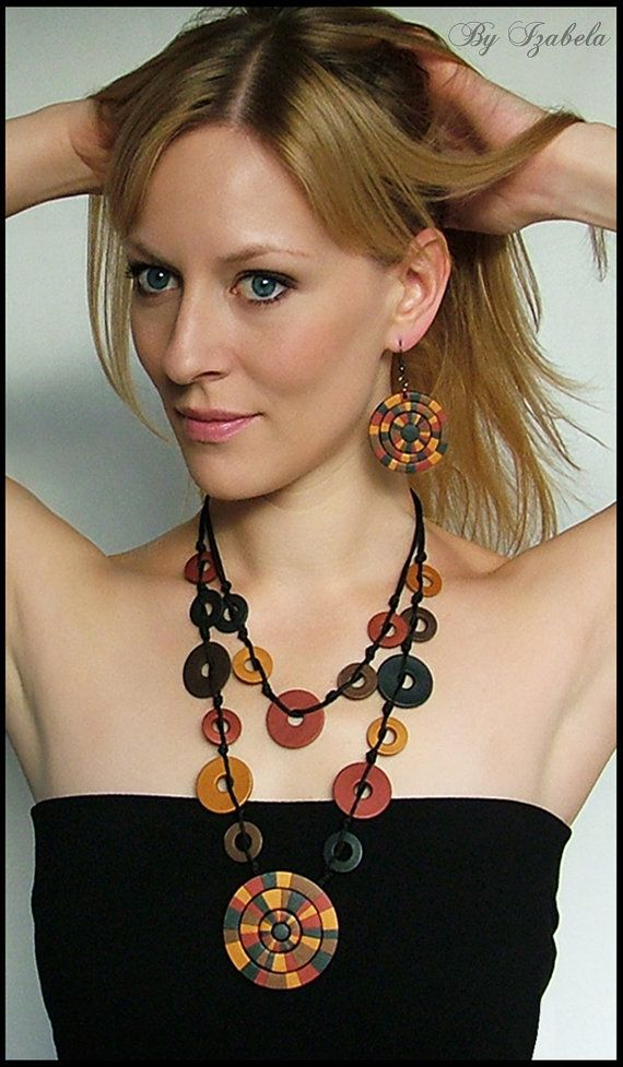 Jewelry set / Necklace, Dangle Earrings / Polymer Fimo Clay Jewelry / Gold, Brown, Red / Indian Summer Fall Sun / Statement Jewelry / Women