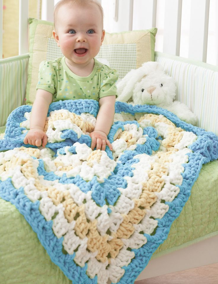 Yarnspirations.com - Bernat From the Middle Baby Blanket - Patterns  | Yarnspirations            Free pattern: http://com.yarnspirations.pattern-pdfs.s3.amazonaws.com/Bernat-BabyBlanket-FromtheMiddle-C-ENG.pdf