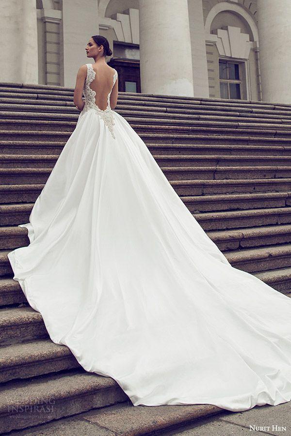 nurit hen 2016 bridal flutter sleeveless split sweetheart trumpet wedding dress (17) mv overskirt open back