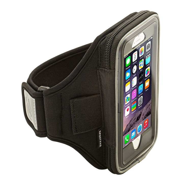 Sporteer Velocity V6 Armband for iPhone 7 & iPhone 6S with Otterbox Case, Samsung Galaxy S7, Galaxy S7 Edge, Galaxy S6, LG G5, Nexus 5X, Xperia XZ/ Z5, Moto G, and Many More (Black, Strap Size S/M)