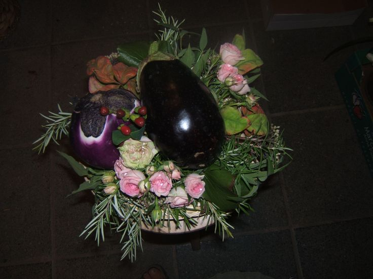 matrimonio: centrotavola fiori e ortaggi