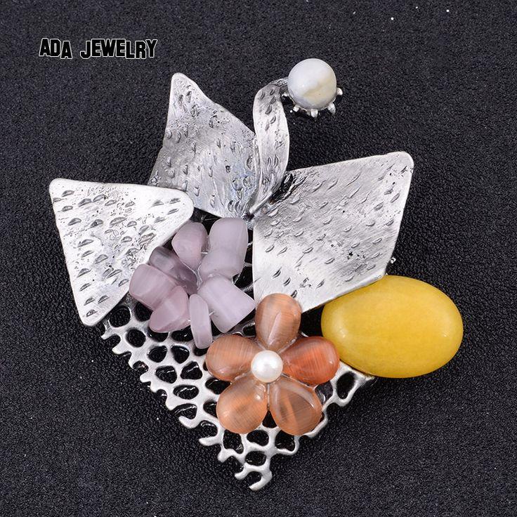 Последний дизайн красочный природный Каменный цветок брошь воротник шарф булавки ювелирные украшения опал Винтаж женщин женские броши для подарка партии