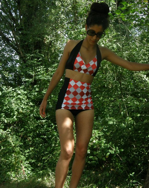 Mandy High waist retro style skirted swimsuit halter by BOODWAH