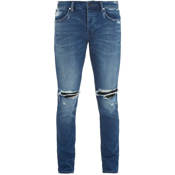 Neuw  Iggy distressed skinny jeans ($171) ❤ liked on Polyvore featuring men's fashion, men's clothing, men's jeans, mens skinny fit jeans, mens low rise skinny jeans, mens distressed jeans, mens super skinny jeans and mens super skinny ripped jeans
