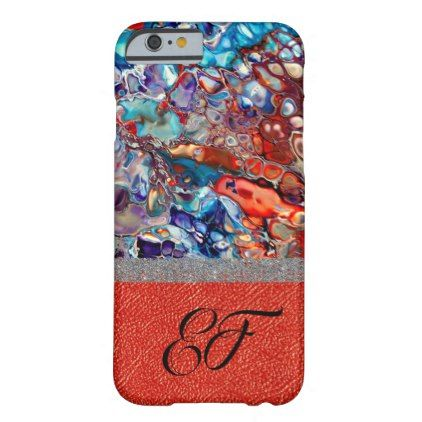 Purple Red Blue Abstract Art Marbling Leather Barely There iPhone 6 Case - glitter gifts personalize gift ideas unique