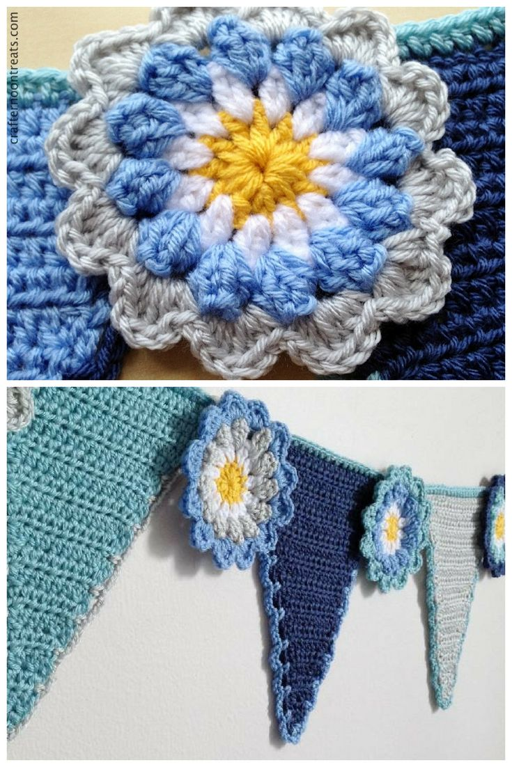 Crochet pennant flower bunting with tutorial links