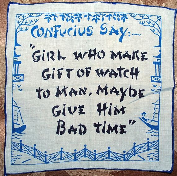 """1960s cocktail napkin featuring whimsical """"Confucius Says"""" sayings"""