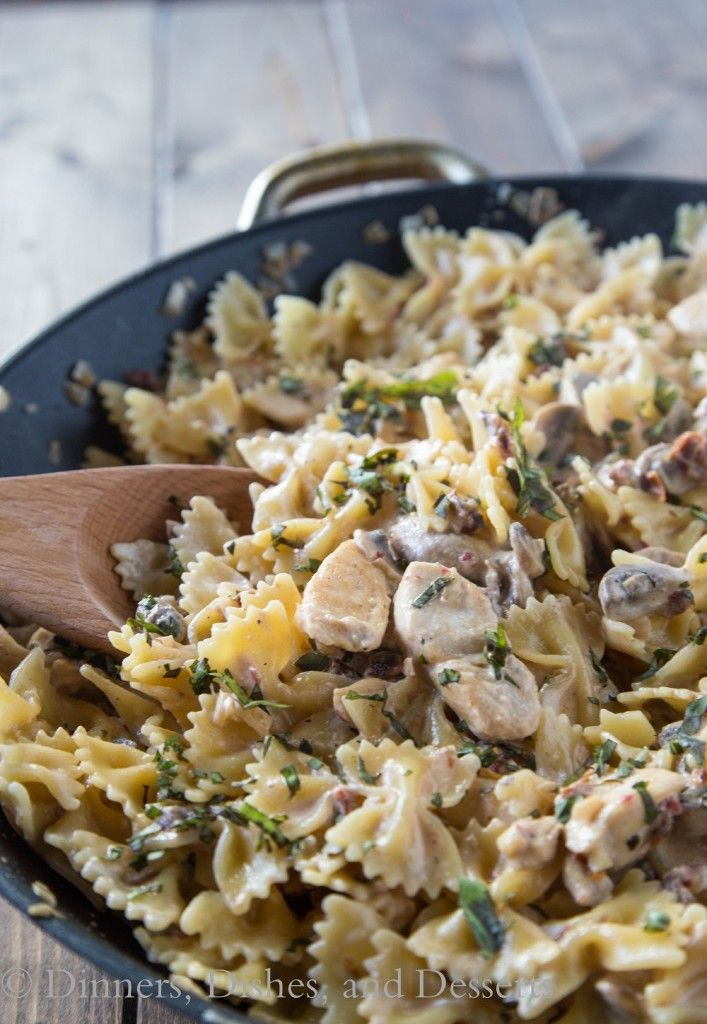 Pasta Milano - creamy garlic and sundried tomato pasta with chicken and mushrooms (copycat of Macaroni Grill)