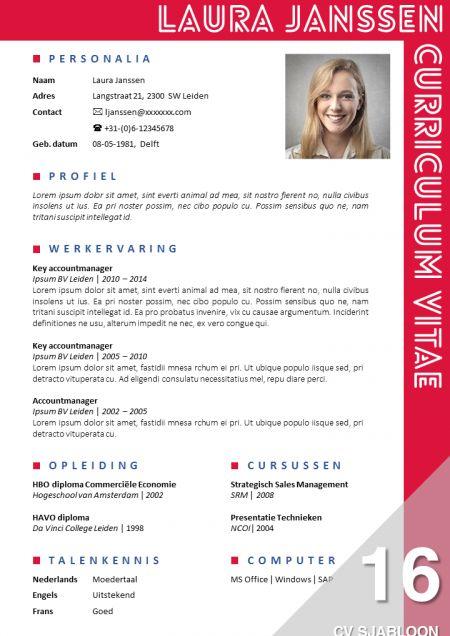 Opvallend CV sjabloon + sollicitatiebrief sjabloon, eenvoudig zelf te bewerken in MS Office. Direct downloadbaar. http://deleydsche.nl/product/cv-sjabloon-16