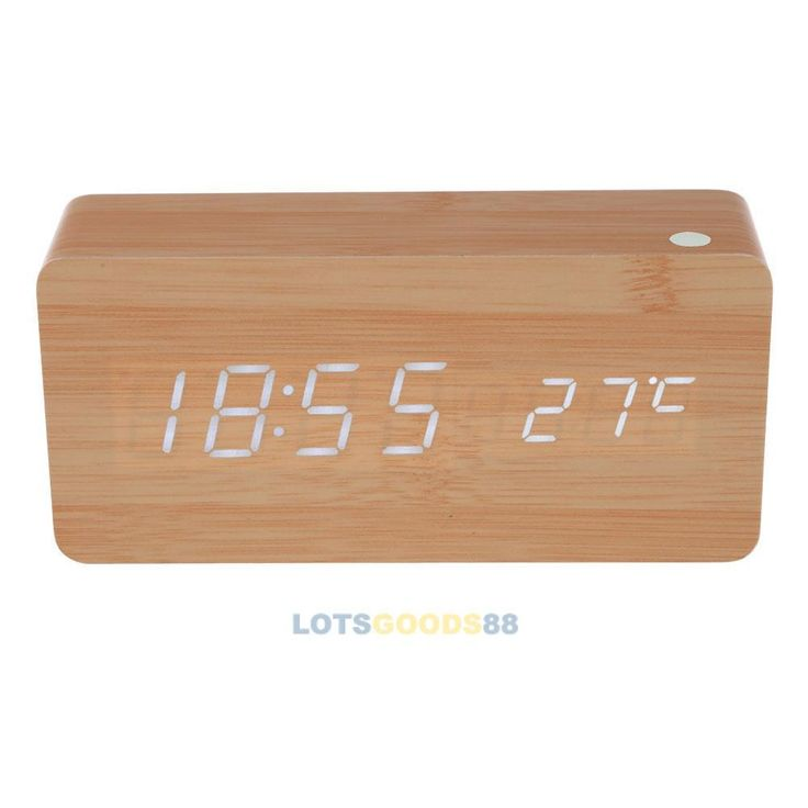 Ls4g прямоугольник деревянные часы цифровой дерево будильник календарь с белый из светодиодов свет