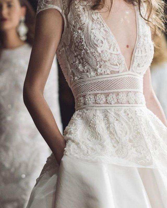 Beaded detailing on the peplum bodice of the MARSAILLE gown for #fall2017 #naeemkhanbridal #embroidery #beading #bridalfashionweek #beading #wedding #love #romance #bride | Photo: @the_lane