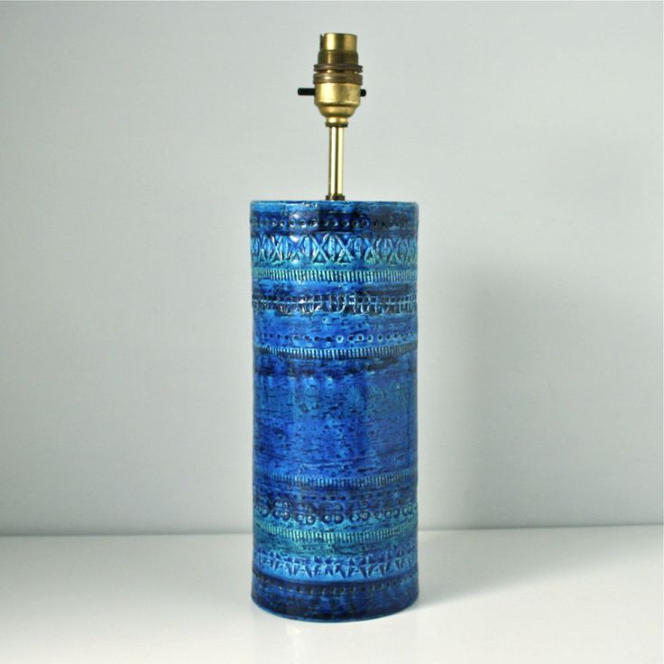 Bitossi ceramic lamp base. Rimini Blue vintage Italian vase shape. Art pottery.