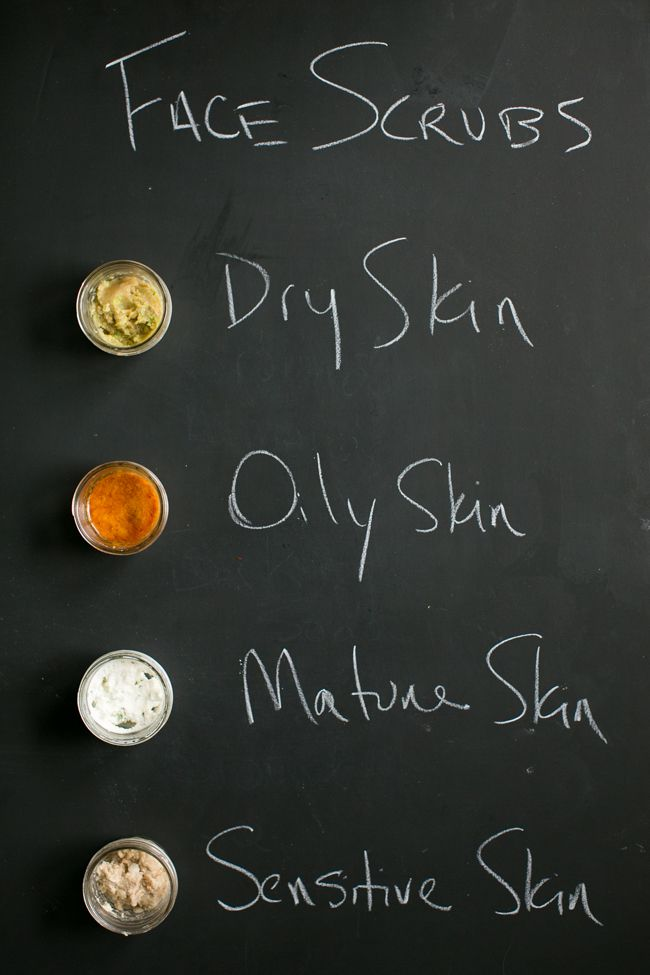 How to make a homemade face scrub for every skin type: dry, oily, mature and sensitive skin.Because dry skin is getting in the way of your glow.