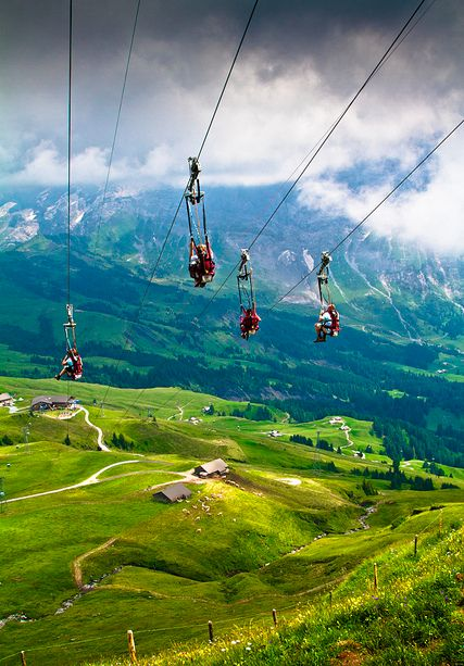 Zip Lining in Grindelwald, Switzerland