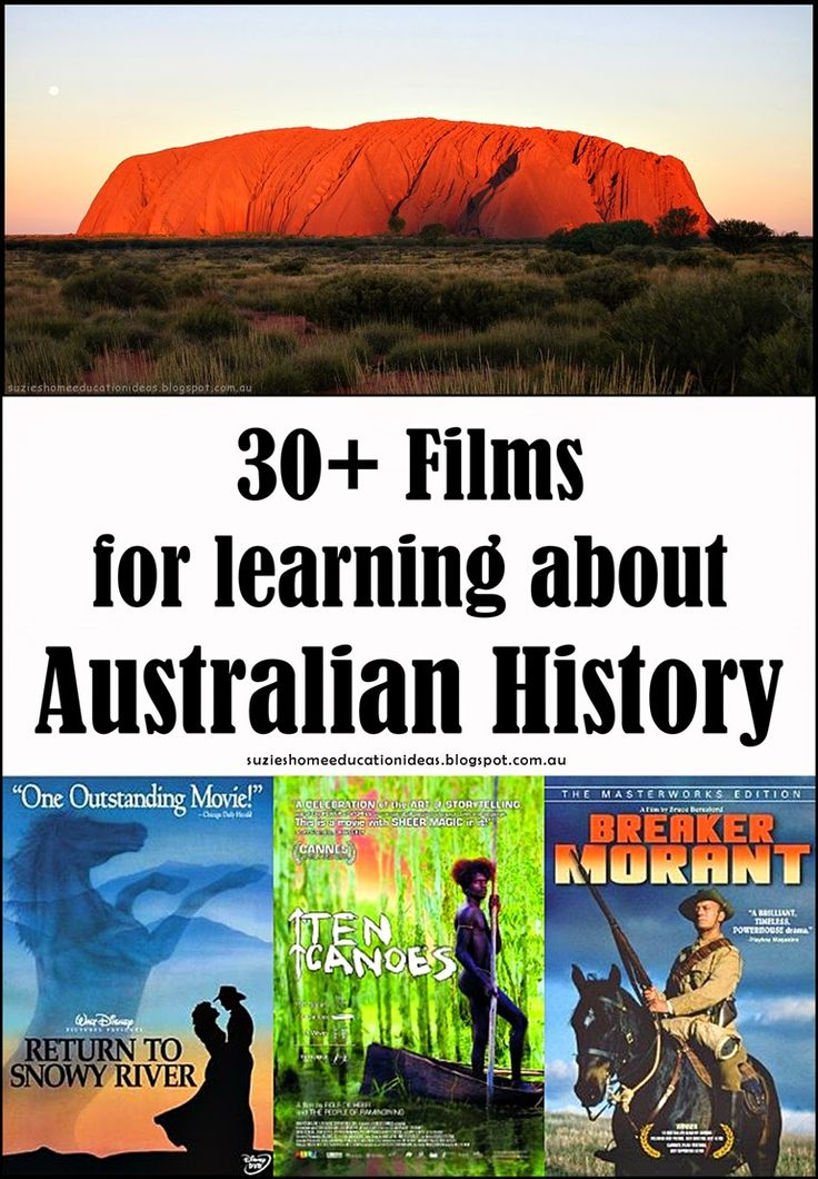 Suzie's Home Education Ideas: 30+ Films for learning about Australian History. Use to supplement Linda's Wide Brown Land for Me, and Australian History-Based Lessons.