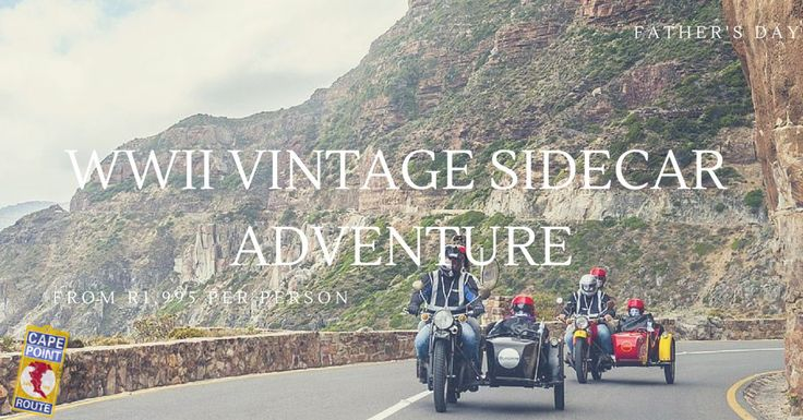 Vintage WWII Sidecar Adventure: This is the coolest spin in Cape Town for a Dad who likes vintage! Take your Father for an unforgettable chauffeur driven Cape Sidecar Adventure in a World War II vintage sidecar. It doesn't get better than this for Father's Day – explore the Winelands or the Cape Peninsula – things look better from the side!