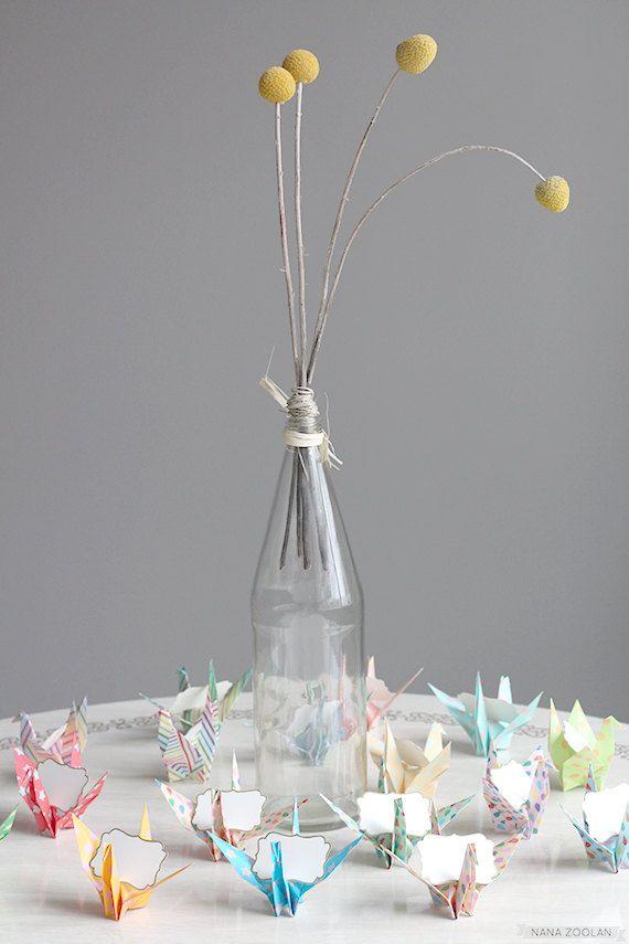 16 nom Place carte Origami papier grue mariage réception nuptiale bébé douche Birthday Party places réservées déjeuner thé répétition pique-nique Favor