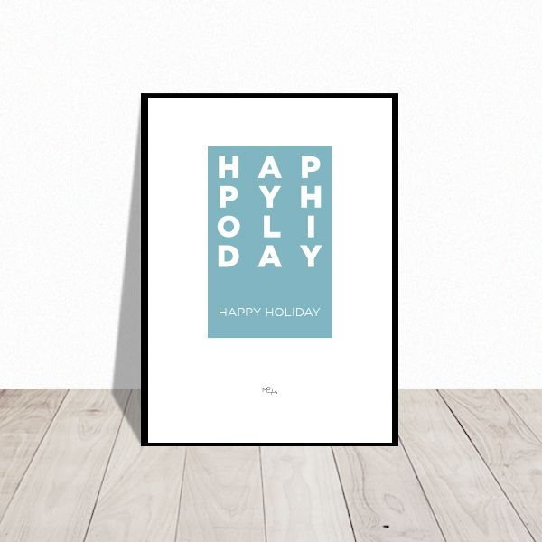 Happy Holiday. Christmas poster. Available in many colors. Design Mai-Britt Parylewicz.