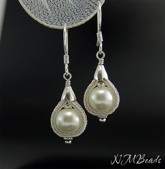 Pearl Earrings With Knitted Bezel, Bridal Jewelry, Sterling Silver, Kazaz Work, Vintage Inspired Victorian Style Jewelry
