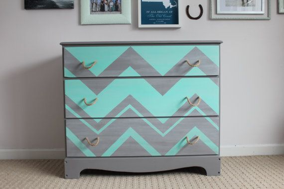RESERVED FOR KELLIE: Custom Made Grey and Teal Chevron Three Drawer Dresser with Rope Handle Pulls