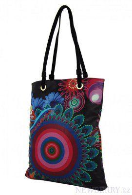 Barevná kabelka na rameno s černými ramínky 402-BB
