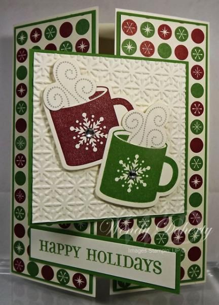 """Tri-Fold """"Happy Holidays"""" Christmas Cocoa Card... Wdoherty - Cards and Paper Crafts at Splitcoaststampers."""