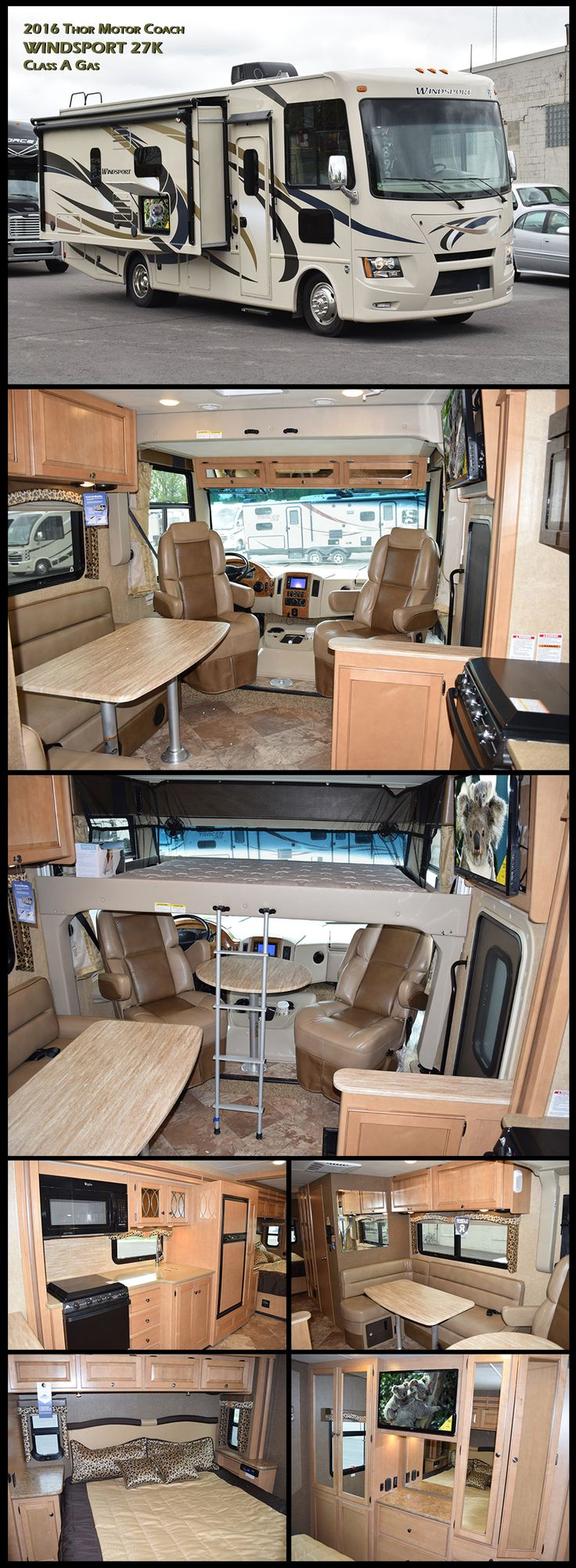 Enjoy the wide angle view from this new 2016 Windsport 27K Class A gas motorhome by Thor Motor Coach. The Windsport has all the features you need in a right sized motorhome. The large slide-out expands the living space to make your stay very comfortable. This 27K model is equipped with a King bed, L Shape lounge, and a power bunk that extends down in the cab area to create a Full size bed.